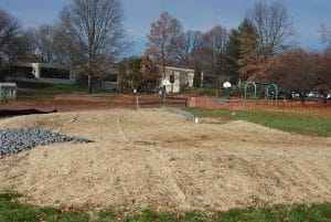 The newly-installed rain garden at AFS awaits planting in the spring.