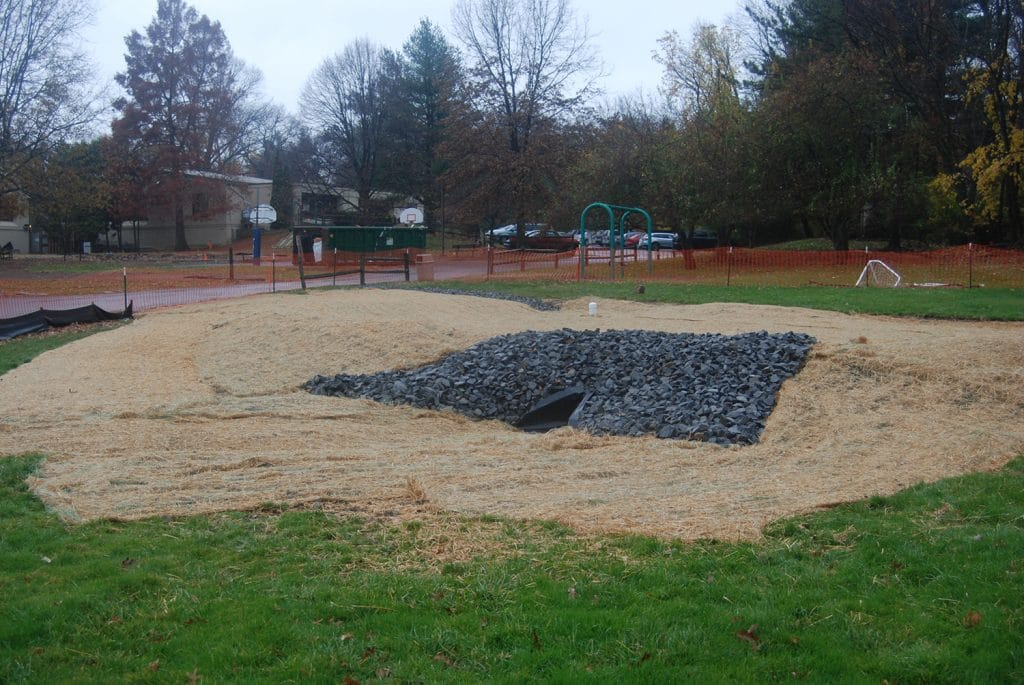 The rain garden at AFS was installed in the fall of 2015, and will be planted in the spring of 2016!