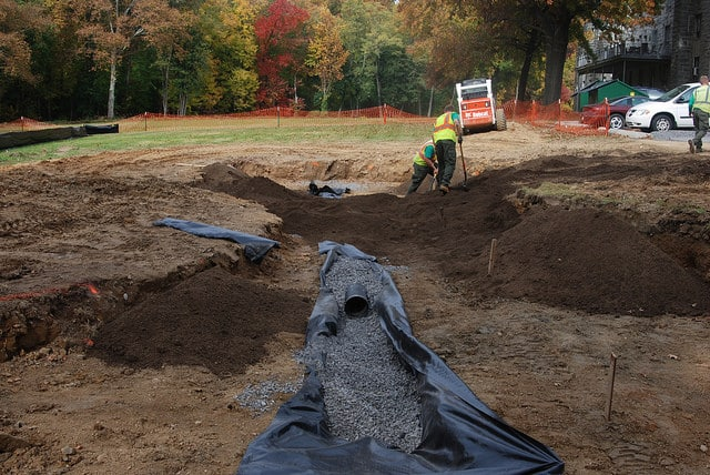 The rain garden at Manor College during the construction phase.