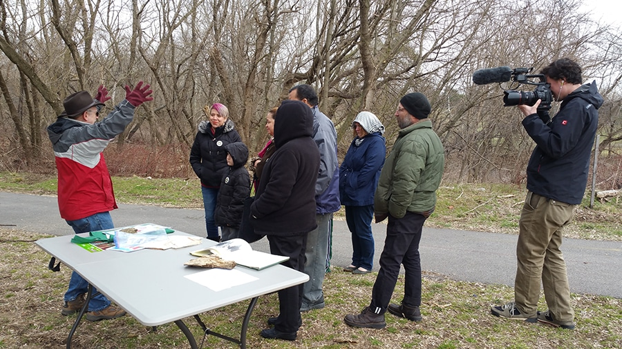 Geoffrey teaching a group of attendees at our Maple Sugar Festival, March 2016