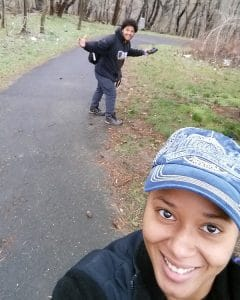 Pedro and Jenicia on the trail in Tacony Creek Park.