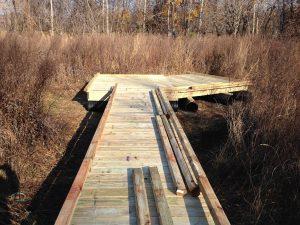 A wooden walkway recently installed in High School Park is ADA-compliant