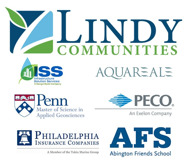Logos for our Partner Alliance members: Lindy Communities, ISS, AquaReale, UPenn, PECO, Philadelphia Insurance Companies, and Abington Friends School.