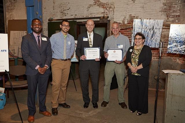 Drew Brown and Adam Levine of Philadelphia Water receive the TTF Public Leader Award.