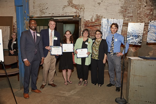 People representing Abington Friends School receive the Nonprofit Steward award at our 2016 Watershed Milestones Award Ceremony & Reception.