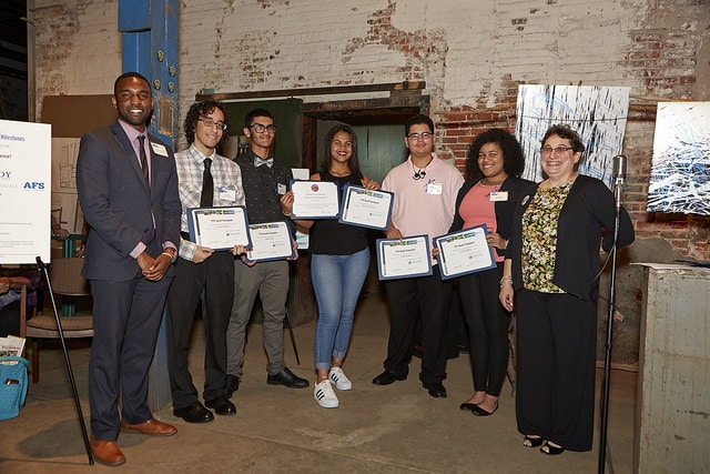 Student members of the STEM Challenge Club of Mariana Bracetti Academy Charter School receive the TTF Youth Champion Award.