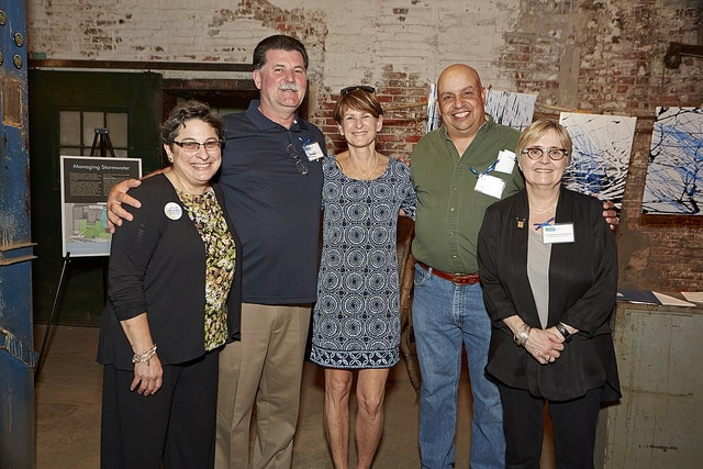 Left to right: Julie Slavet, TTF Executive Director; Pat Ford of the Water Restoration Team of Philadelphia Water; Joanne Dahme, TTF Vice President of the Board of Directors, and General Manager of Public Affairs at Philadelphia Water; Denis Mora of the Water Restoration Team of Philadelphia Water; Water Commissioner Deb McCarty.