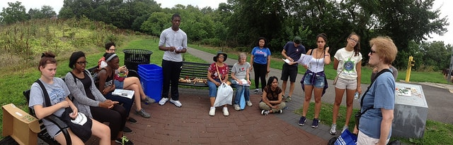 A group gathers for our Natures Hidden Surprises nature walk.