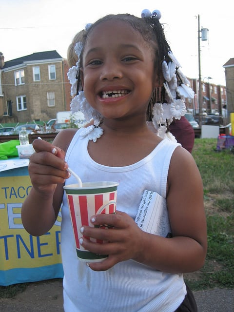 Little girl with Rita's Water Ice